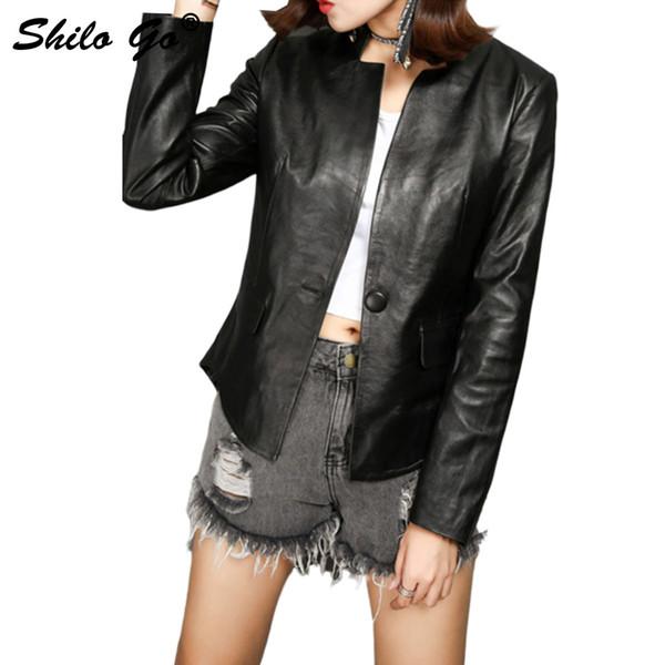 SHILO GO Veste en cuir véritable pour femmes Veste en cuir de mode automne col V à manches longues manteau seul bouton
