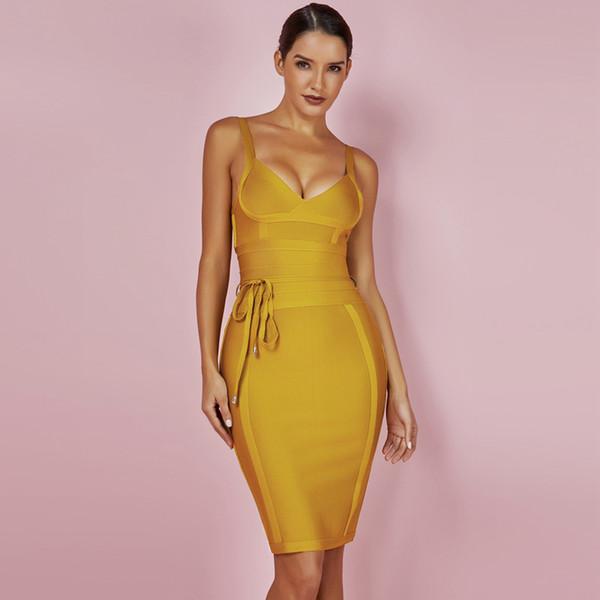 Lady 2019 Dress New Arrivals Summer Giallo Bodycon Dress V Neck Spaghetti Strap Autumn Party Women