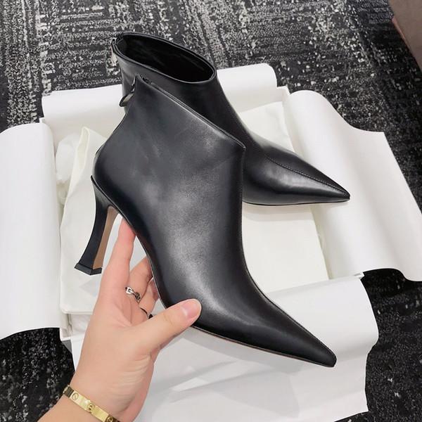 Bottes de 2019 nouveaux talons sexy bottes en daim élastiques en cuir chaussures en métal lourd talon femme tirette luxe Place sj19092718
