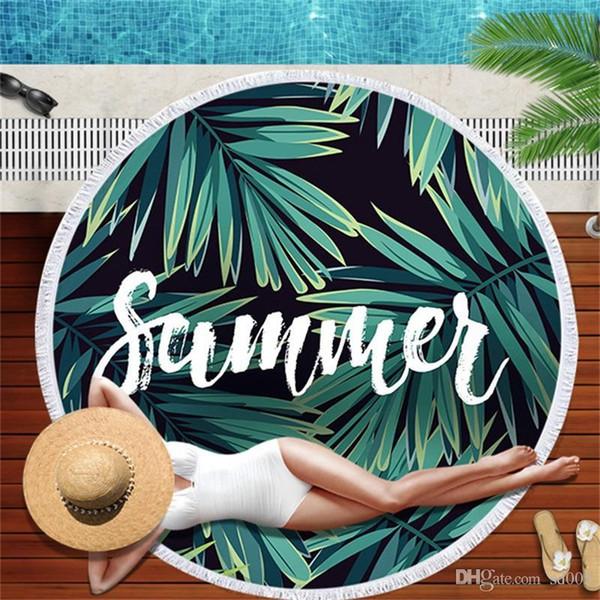 Ronde été Foulards Wraps Femmes Tropical Palm Leaf Plantes Banana Imprimé Châle vacances Mer Serviette sarongs Mode crème solaire 28am bb