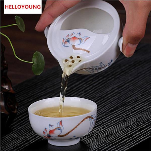 Cj225 tee-set gehören 1 topf 1 tasse, hochwertige elegante gaiwan, schöne und einfache wasserkocher teekanne chinesisches porcelana tee-set