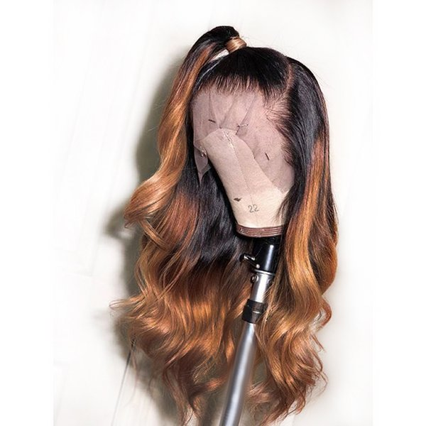 New Sexy Dark Roots 1b/30/27# Black to Brown Ombre Blonde Long Body Wave Hair Glueless Synthetic Lace Front Wigs For Women