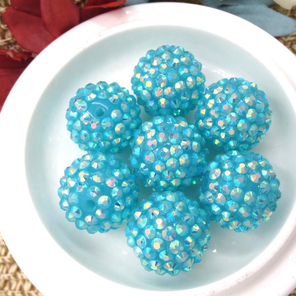 50PCS Sky Blue 20MM Chunky Resin Rhinestone Ball Beads DIY Hand Made Accessories Chunky Beads For Kids Necklace Jewelry Marking