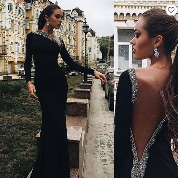 Sexy Backless Black Mermaid Evening Dresses Arabic Long Sleeve New 2019 Sequins Beaded Tight Trumpet Prom Party Gowns Cheap Celebrity Dress