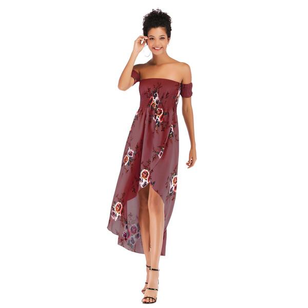 Womens Summer Fashion Flora Robes Imprimées Femmes Style De Vacances En Mousseline De Soie Sexy Col Slash Asymétrique Mi-mollet Jupe Ladie Vêtements Casual