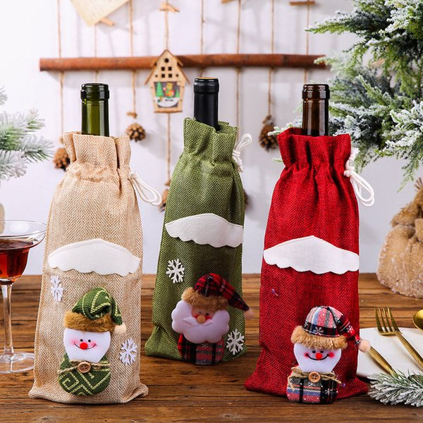 best selling Christmas Wine Bottle Cover Snowman Santa Claus Elk New Year Gift Bag Table Ornament Christmas Decoration For Home Party Dinner