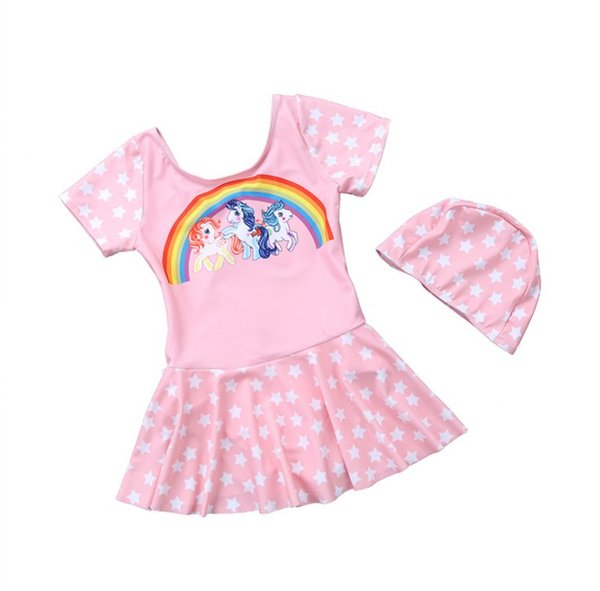 Baby girls one piece swimsuit rainbow unicorn cartoon cute baby girls swimwear children summer beach outfits with caps