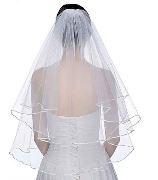 best selling New Elegant Wedding Veils Short 2 Tier Bridal Veils with Comb 2 Layer White Ivory Wedding Veil Satin Edge Tulle Good Quality