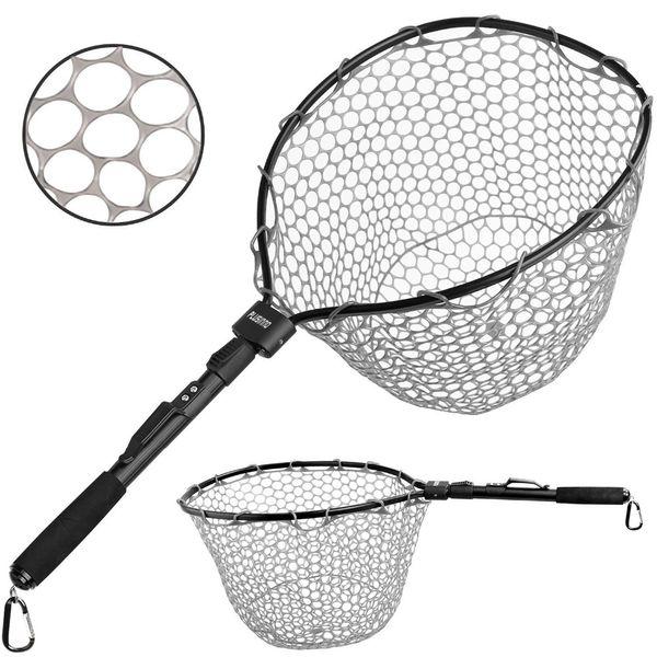 Fly Fishing Net Fish Landing Net, Trout Bass Net Soft Rubber Mesh Catch and Release Net