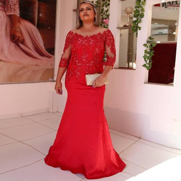Elegant 2020 Red Mermaid Мать невеста платье Sheer шея Рукав три четверти Бисероплетение официально платье атласного Длинные платья Q62