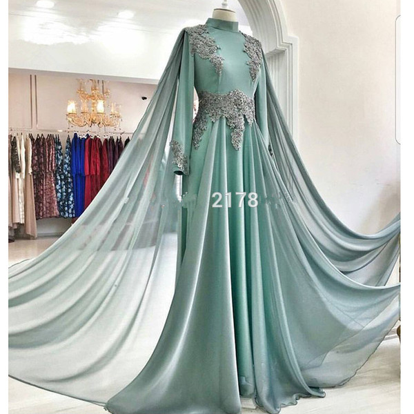 Elegante Vestidos de Noite Muçulmanos 2019 A-line Mangas Compridas Chiffon Frisado Islâmico Dubai Saudita Árabe Longo Vestido de Noite Vestidos de Baile