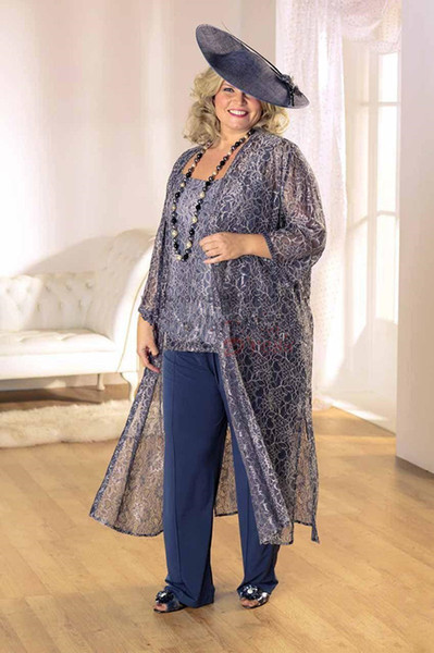 Chic Three Pieces Lace Mother Of The Bride Pant Suits Long Sleeves Scoop Neck Wedding Guest Dress Chiffon Plus Size Mothers Groom Dresses