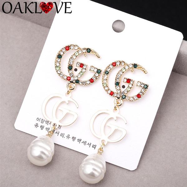 2019 New Rhinestone Big Pearl lettre boucles d'oreilles S925 Silver Needle Or Couleur Mode Femmes Robe Brillant Boucle D'oreille Parti Bijoux