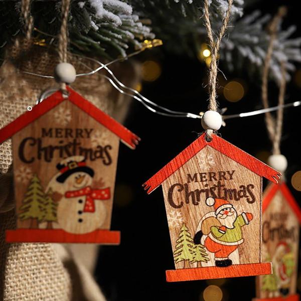 Creative Small House Wood Craft Christmas Wooden Pendants Ornaments Kids Gift Diy Xmas Tree Ornament Christmas Party Decor Christmas Garland Christmas
