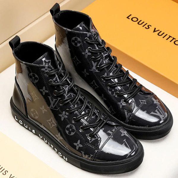 New Mens Boots Leather Casual Shoes High Top Rubber Sole Platform Leather Mens Work Boots Plus Size M#19 Hot Tattoo Sneaker Boot Sale
