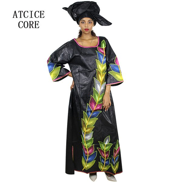 100% cotton african dresses for women African bazin riche embroidery design long dress with scarf one suit LA113#