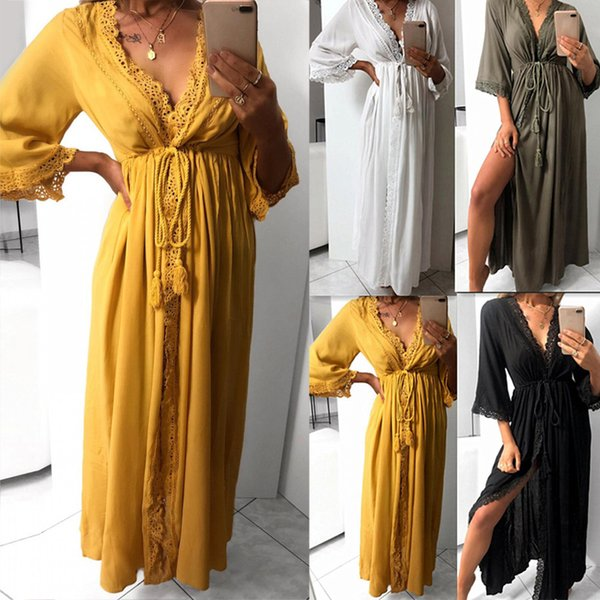 Cover Up Swimwear Solid Dresses Fashion V Neck Gifts Sexy Lace Beach Elastic Long Summer Women Dress A-line Cardigan