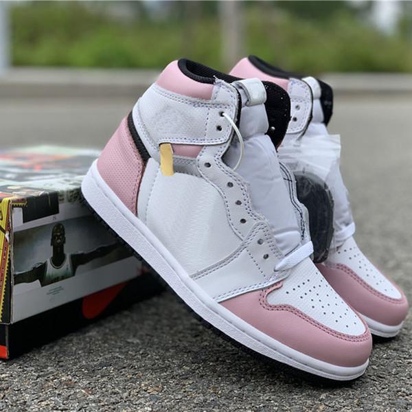 Más nuevos de calidad superior 1 Alto OG Blanco Rosa Negro Mujer Zapatos de diseño de baloncesto Nuevo Custom I Grade School Fashion Sport Sneakers con caja