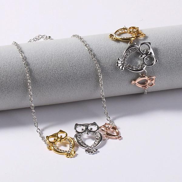 diamonds 3 owls bracelet and necklace jewelry set for women fashion luxury crystal necklaces owl alloy rhinestone bracelets animal jewelries