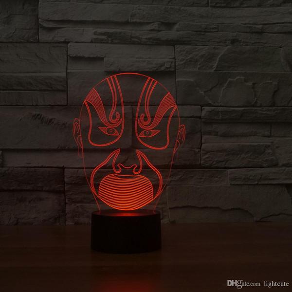 Opéra de Pékin 3D Illusion Night Light, tactile 7 Changer la couleur, Décoration d'intérieur bébé garçon lampe LED chlid anniversaire Cadeau de Noël Cadeau de Noël