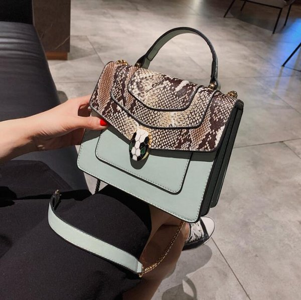 Factory Outlet Brand Women Bag Personality Snakehead Lock Handbag Fashion Snakehead Leather Chain bag Sweet Cute Leather Messenger Bag