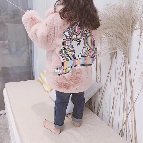 Inverno Faux Fur Casacos crianças Meninas Engrossar Quente Casaco Moda Crianças arco-íris unicórnio Outerwear Roupas de Bebê C5622