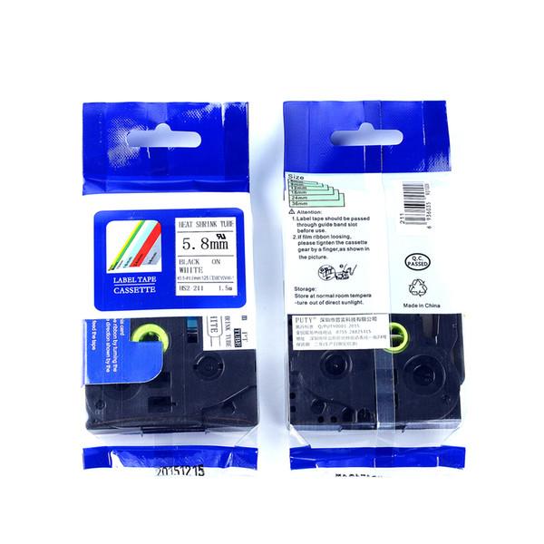 20 adet / grup Kardeş HSe ısı shrink bant kartuşu HSe-211 ~ 5.8mm x 1.5 m kablo işareti için HSe bant Siyah Beyaz p dokunmatik yazıcı