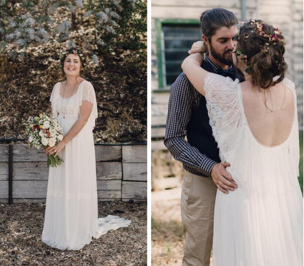 Plus Size Lace Chiffon Garden Wedding Dresses with Short Sleeves Sweep Train Long Beach Summer Bride Bridal Gowns