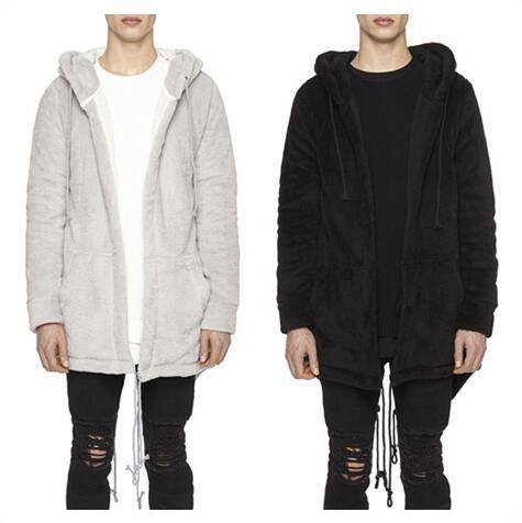 mens long hooded flannel jacket fashion Sleeve zipper Plush fur coat 2017 new Keep warm High-quality Cape cardigan coat