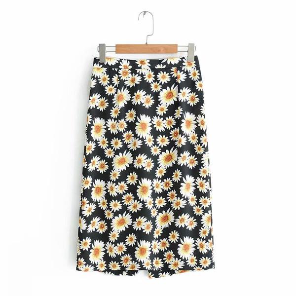 QZ033 Summer Ladies Daisy Estampado floral Falda de cintura delgada Botones delanteros Coreano Chic Bodycon Faldas