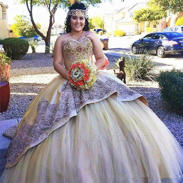Compre Vestidos De Quinceañera Dorados Para Niñas Vestido De Fiesta Apliques De Novia Vestidos De Baile Vestidos De Novia Formales Vestido Sweet 16 A