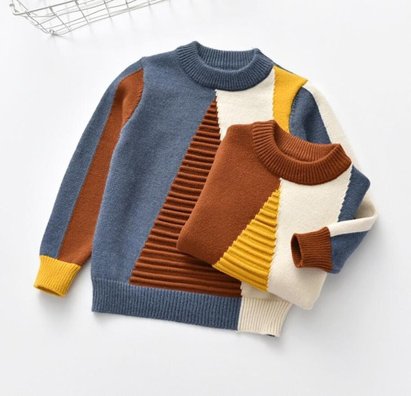 Baby Kids Футболка Свитер Baby Girl Геометрический Треугольник Прямоугольник Матч Pattern Little Boy Outfit O Шеи Вязаная Одежда для 2T-7T