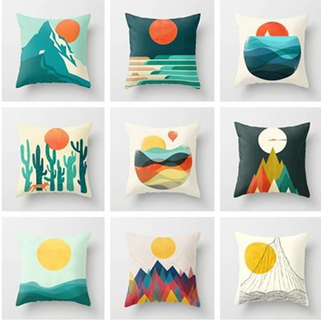 Sun and Mountain Cushion Cover for Sofa Office Car Peach Skin Pillowcases Home Living Room Bedroom Decorative Accessories 45x45