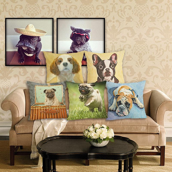 45cm Lovely dog Cotton Linen Fabric Throw Pillow 18inch Fashion Hotal Office Bedroom Decorate Sofa Chair Cushion