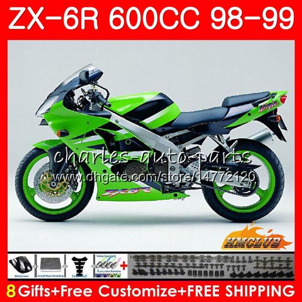 Fairing For KAWASAKI NINJA ZX-636 600CC ZX6R 98 99 98-99 Kit 39HC.191 ZX636 ZX-6R ZX 636 6 R ZX600 CC green stock ZX 6R 98 1998 1999 Body