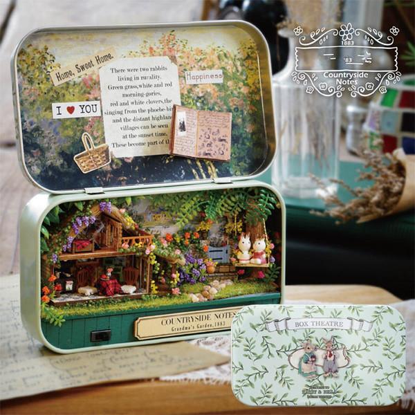 3 Styles Wooden Mini DIY Handmade Box Theatre Model Kit Doll House For Doll Assemble Kits Gift Toys For Children