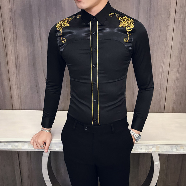 2019 Retro Embroider Long Sleeves Shirt Korean Edition Slim Spring New Summer Money Man Shirt One Piece Jacket Male