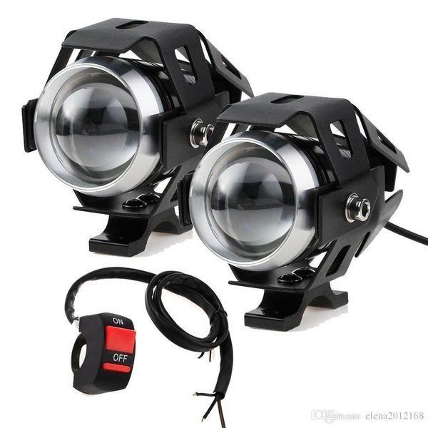 2PCS 125W fari del motociclo con riflettori switch Moto U5 LED Moto guida della nebbia punto capo della lampada della luce DRL