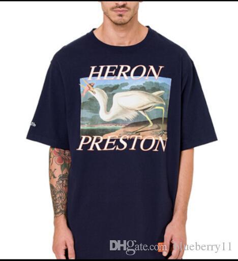 Heron preston Mektup Baskılı Erkekler Lacivert Beyaz Kısa Kollu T Gömlek Hip Hop Rahat Pamuk T-Shirt Tee Tops