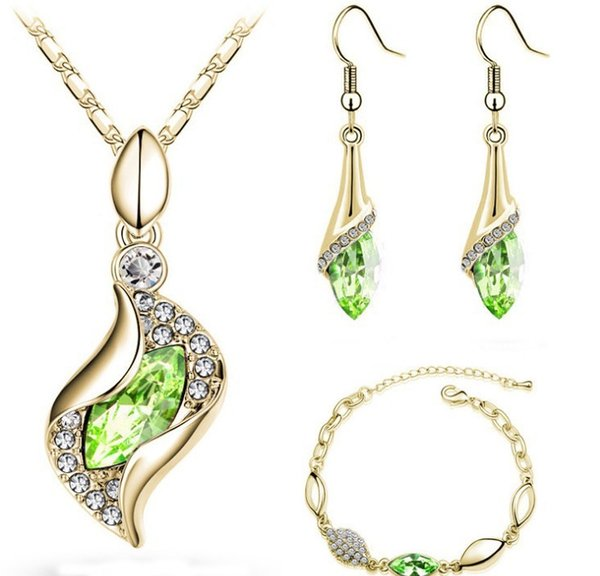 Network Ornaments Water Drop Crystal Earrings Pendant Necklace Can Custom-made Various Colour