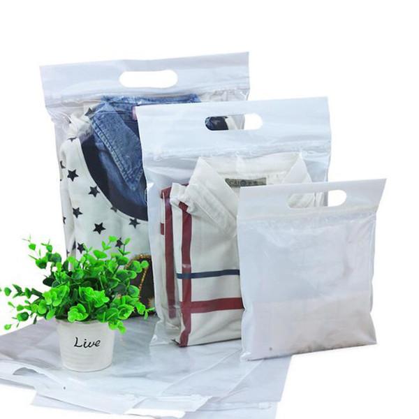 Zipper Top Vêtements Sac En Plastique Imperméable À L'eau Zip Lock Poignée Refermable Sac Vêtements Serviette D'emballage Sacs D'emballage QW9454