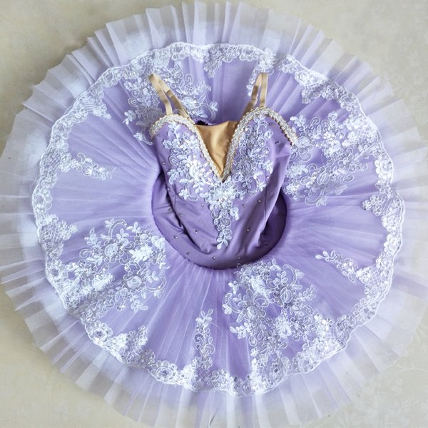 New Adult Children Sling Long Embroidery Professional Ballet Tutus Child Ballet Costumes Pancake Tutu Ballerina Dress For Girls