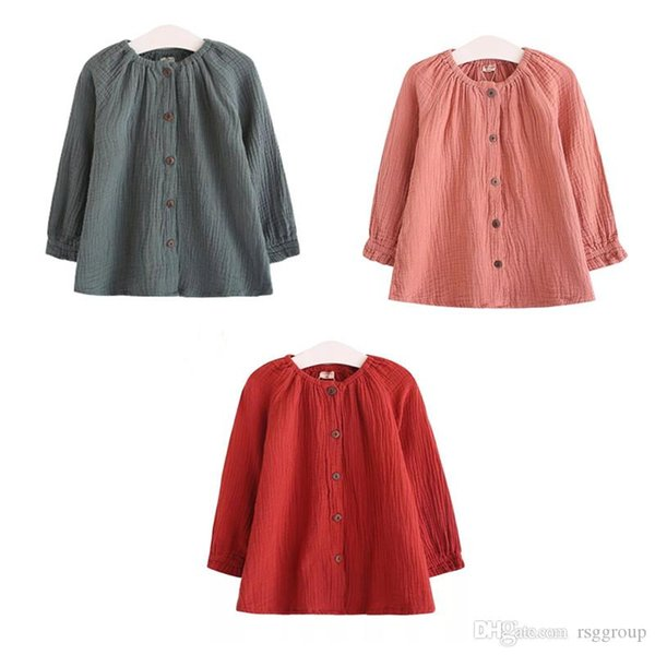 Newest INS Kids Boys Girls Organic Cotton Tshirts Fall Long Sleeve Front Buttons Blank T-shirts Round Collar Children Kids Tops Tees