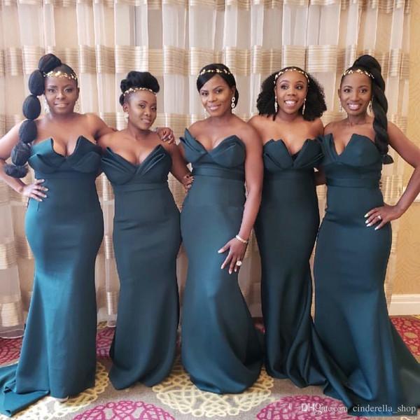 Robes de demoiselle d'honneur sirène vert foncé uniques à long 2019 pas cher robes de invitées africaines au mariage africain plus robes de demoiselle d'honneur