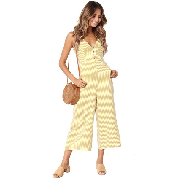 06f62edbd Summer Fashion Striped Button Pocket Deep V neck Sleeveless Sexy Jumpsuits  For Women 2019 Rompers Womens Jumpsuit