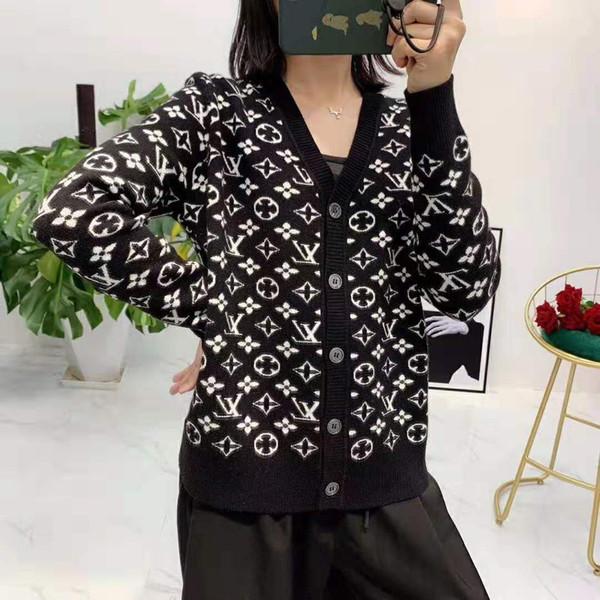 921 2019 Herbst-freies Verschiffen V-Ansatz-Knopf Langarm Brief Cardigan Mode Prom Frauen Pullover Luxuy Pullover QIAN