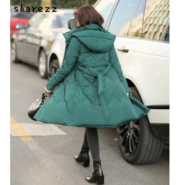 sharezz 2019 новый корейский зимний длинный пуховик женский ремень карман на молнии с капюшоном Lingge белый пуховик женский