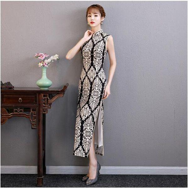 Vendita calda femminile Rayon nuovi abiti tradizionali cinesi Fiore Qipao stampato Mandarin collare Slim Cheongsam sexy Plus Size M-3XL