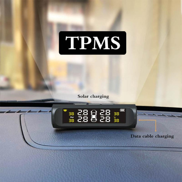 top popular TMPS Car Tyre Pressure Monitoring System The Solar Cell Transmits Data Wirelessly to Monitor 4 Tire Pressure in Real Time 2021