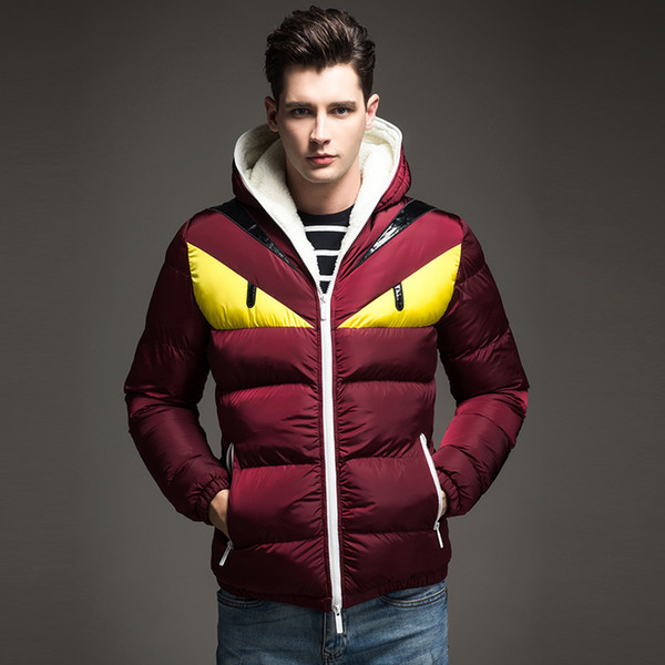 2019 Nuevo diseño de moda Chaqueta de invierno para hombre Ojo grande Contraste acolchado de algodón Parka Puffer Abrigo con capucha Veste Homme Hiver
